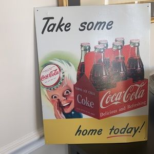 Coca Cola TIN SIGN TAKE SOME HOME TODAY/ wall